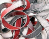 Hand Dyed Silk Ribbon - Crinkle Silk Jewelry Bracelet Fairy Ribbon - Crimson Red Grey - Quintessence - Crimson Cloud