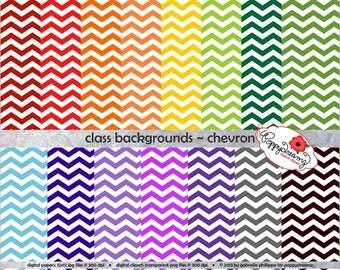 Class Backgrounds Chevron: Digital Scrapbook Paper Pack (300 dpi) 15 digital papers Teacher Backgrounds Digital Paper