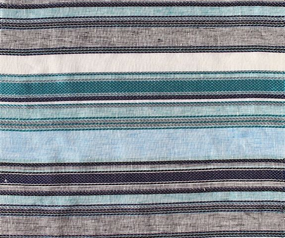 custom curtains in navy with teal sky blue stripe by