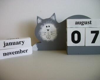 Cat Calendar Perpetual Wood Block Grey