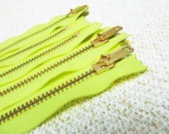 17inch - Neon Yellow Metal Zipper - Gold Teeth - 5pcs