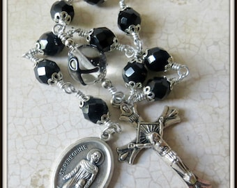 Black Ribbon St. Peregrine Rosary for Melanoma, Single Decade Pocket Rosary for Skin Cancer Patients