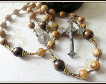 Mens Large Five Decade Olive Wood Rosary w/ Burnt Horn Paters, Beaded Cable Rosary in Bronze