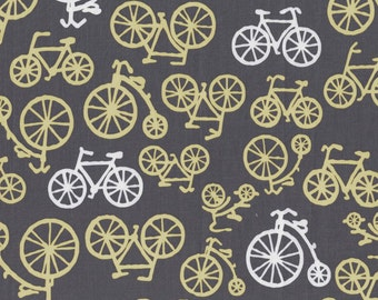 Citron and Gray Bicycles Citron for Michael Miller, 1/2 yard
