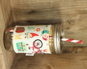 Gnomes and Bikes Mason Jar cup  24 oz large Tumbler with fabric sleeve- travel mug -  2 candy swirl straw included