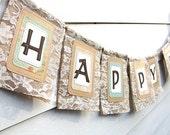 Burlap & Lace HAPPY BIRTHDAY Banner