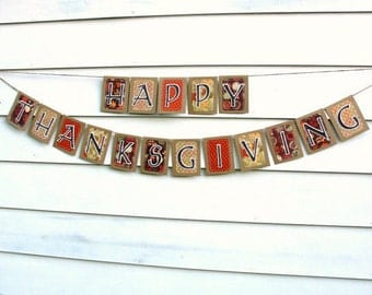 Items Similar To Give Thanks Burlap Banner Autumn