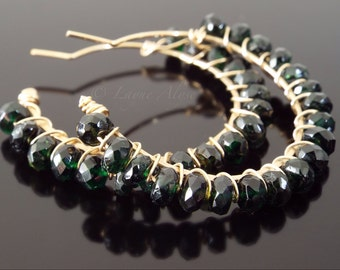 DARK green tourmaline wire wrapped hoops