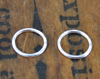 Sterling Silver Jump Ring Hammered Finish Heavy 16 Gauge 16mm Soldered Closed Sterling Silver Jewelry Supply Finding USA