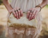 Bridesmaid Clutch Burlap/Linen Inspired Gold