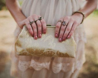Bridesmaid Clutch Burlap/Linen Inspired Gold