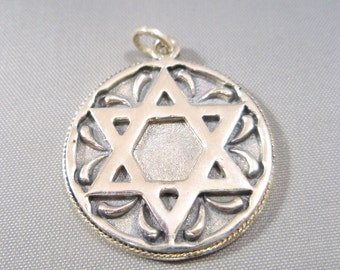 Star of David Judaica Sterling Silver 925 Pendant