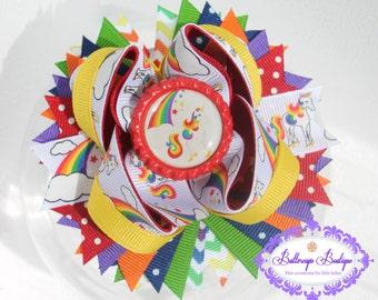 Rainbow hair bow, unicorn hair bow, layered hair bow, OTT bow,