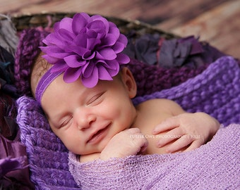Purple baby headband,  infant headband, newborn headband, hair headband, photo prop, purple flower, purple headband
