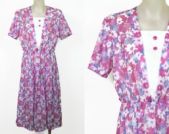 70s - 80s pink floral watercolor print pleated midi dress // sz m