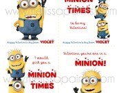 Custom Minion Despicable Me Valentine Printable Cards - with your child's name!