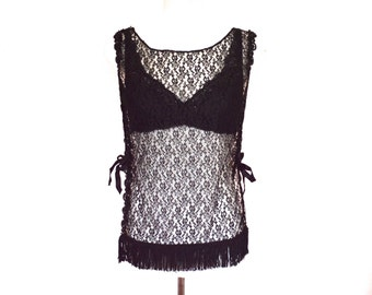 90's Sheer Black Lace Open Sides Tassel Top size - S/M