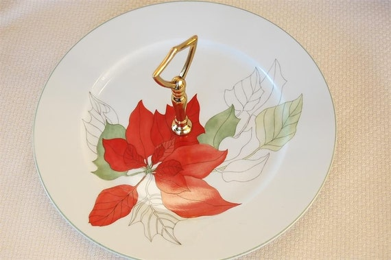 Vintage Christmas Block Spal Watercolors Poinsettia Tid Bit Tray Serving Plate with Handle by Mary Lou Goertzen circa 1982