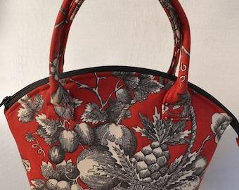 Red Fruit Print Zipper Bag