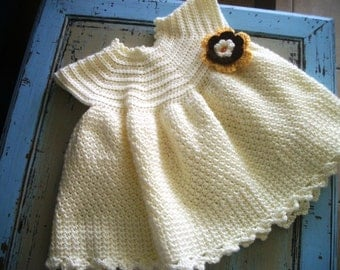 OOAK Cream White Toddler Dress Size 12 to 18 Months Crochet Christening