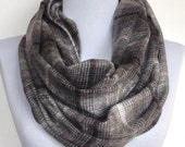 Infinity Scarf: Gray and Black Flannel, Circle Scarf, Loop Scarf, Eternity Scarf, Winter Scarf