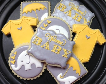 Elephant Baby Shower Sugar Cookie Collection