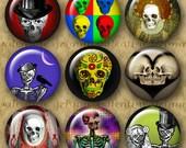 1 inch Digital Circles POP SKULLS - Digital Printable art collage sheet for Jewelry Magnets Crafts...Fun Altered Art Skeletons Skulls