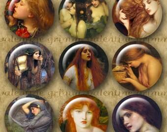 PRE-RAPHAELITE WOMEN 1 inch Circles - Digital Printable Arts & Crafts Patterns for Pendants  Magnets Crafts...Rossetti Leighton Burne-Jones