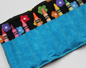 Rainbow Flower Crayon Roll with Velcro OR Ribbon Closure (You Pick) - Girls Crayon Rollup by CK Stitches - Great Girl Birthday Gift