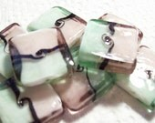 9 Glass Blocks - Pastel Green and Pink