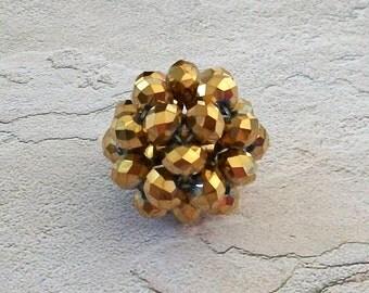 Large Beautiful Metallic Gold AB Crystal Bead Ball