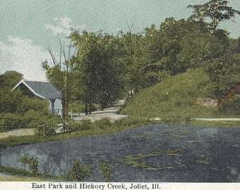 East Park and Hickory Creek, Joliet Illinois IL, Vintage Postcard Unused, Landscape and trees