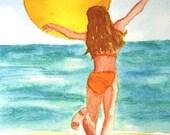 ORIGINAL watercolor, Sun Dance, young girl dancing on the beach, golden sun, aqua ocean, summer vacation, beach art, seashore artwork