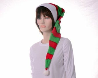 Long Stocking Cap Red Green White Christmas Elf Hat Candy Cane Stripe Beanie Adult Men Women Winter Fleece Hat