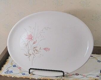 Large Salem China Oval Platter with Pink Rose Design