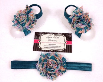 Teal Paisley Barefoot Sandals with optional matching Headband, Newborn Sandal, Baby Shoes, Toddler Sandals, Shabby Flower