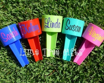 SET of FIVE - Personalized Sand Spike Beach Holder
