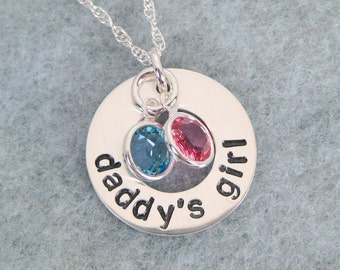 Daddy's Girl Necklace - Father Daughter Necklace with Swarovski Birthstones - Daddy Daughter Jewelry