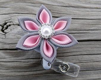 I.D. Badge Holder Retractable in Kanzashi flower
