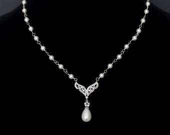 Bridal Necklace, Wedding Bridal Necklace, Pearl Rhinestone Bridal Necklace, White Swarovski Pearl and Cubic Zirconia Necklace