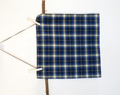 Bright Bold Blue Yellow Plaid Mens Pocket Square Kerchief - seasidecloth