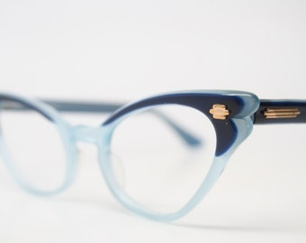Two tone blue cat eye glasses  vintage cateye eyeglasses frames