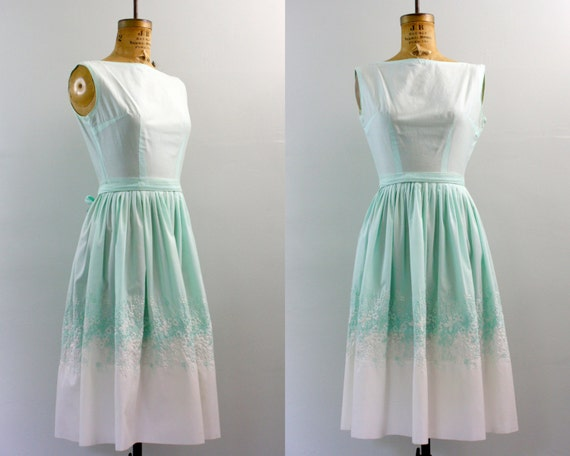 50s dress / 1950s day dress / embroidered dress xs / butterfly dress