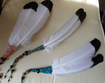 Smudging Faux Eagle Feather Fan w/ beads