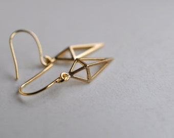 Small Gold Geometric Open Pyramid Triangle Earrings