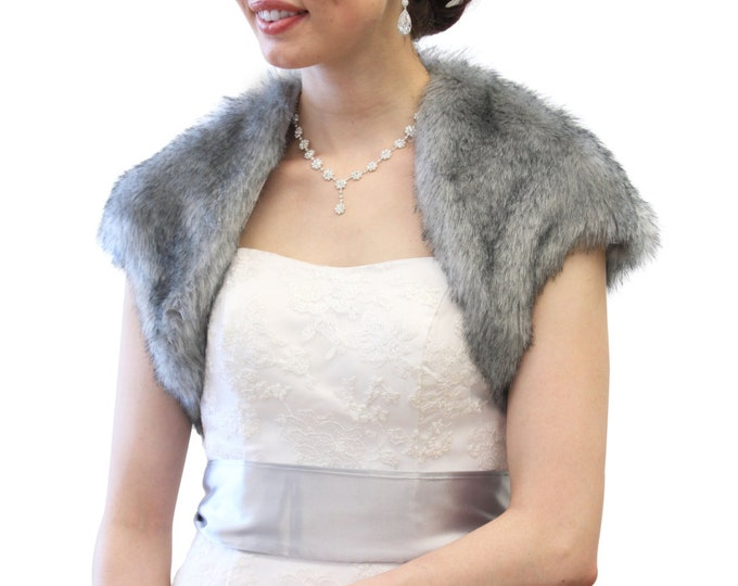 Grey Chinchilla Faux Fox Fur Bridal Bolero Crop Jacket, #603NF-GREYCHIN for Kay