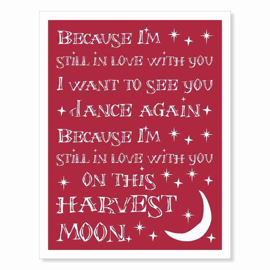Typography Wall Art Print - Harvest Moon v2 - love song lyrics red ...