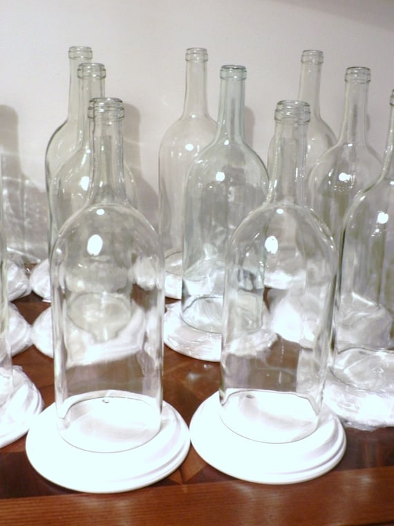 10 clear wine bottle candle holder hurricane lamp for Clear wine bottle centerpieces