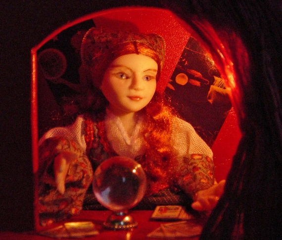 Dolls house Miniature Automata Doll Madame Zena Fortune Teller in Booth OOAK Artisan piece