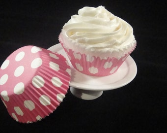 Pink with White Polka Dots Cupcake Liners